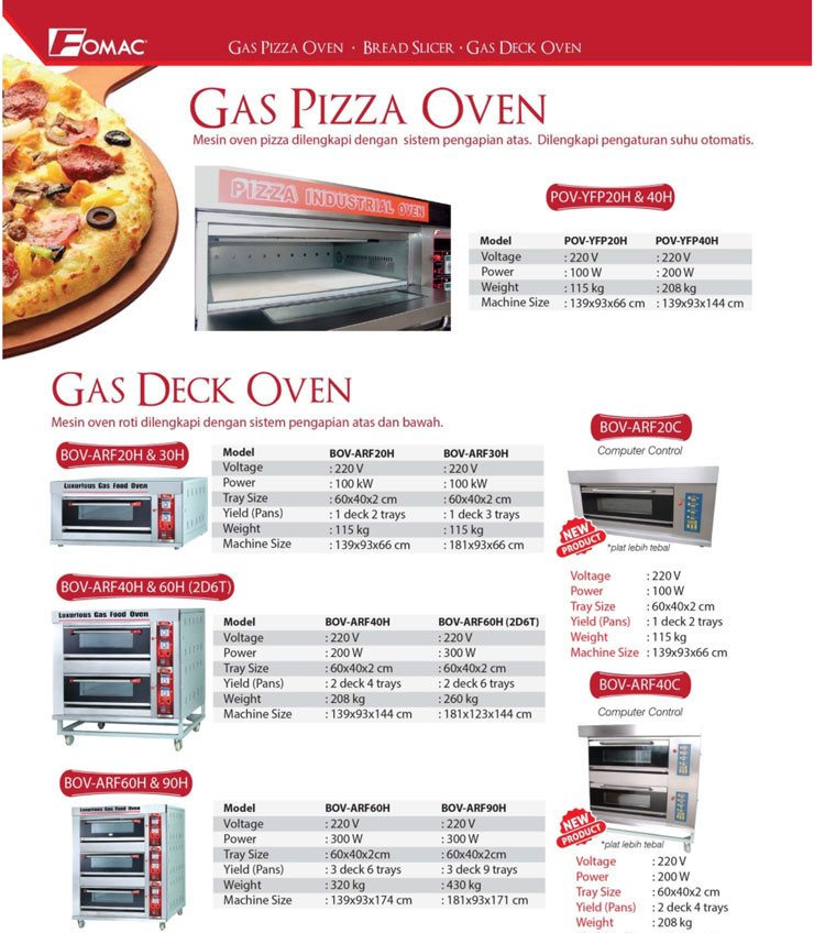 fomac oven gas