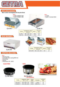 Hot Dog Baker, Bun Warmer, Crepes Machine