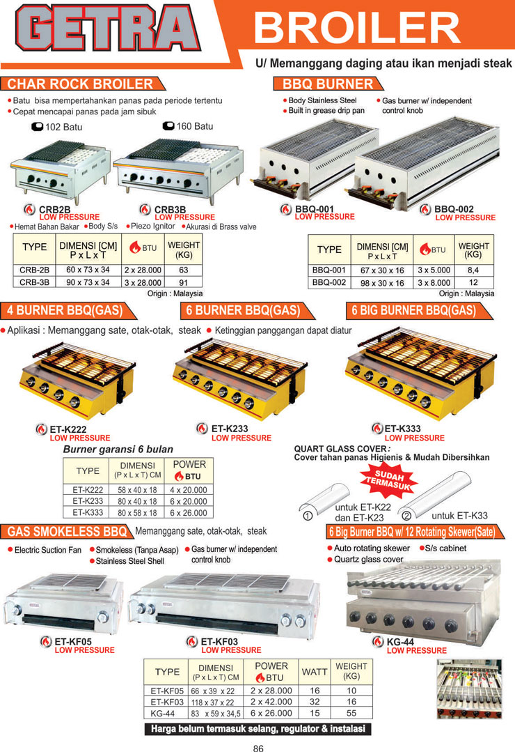 COOKING EQUIPMENT CRB2B