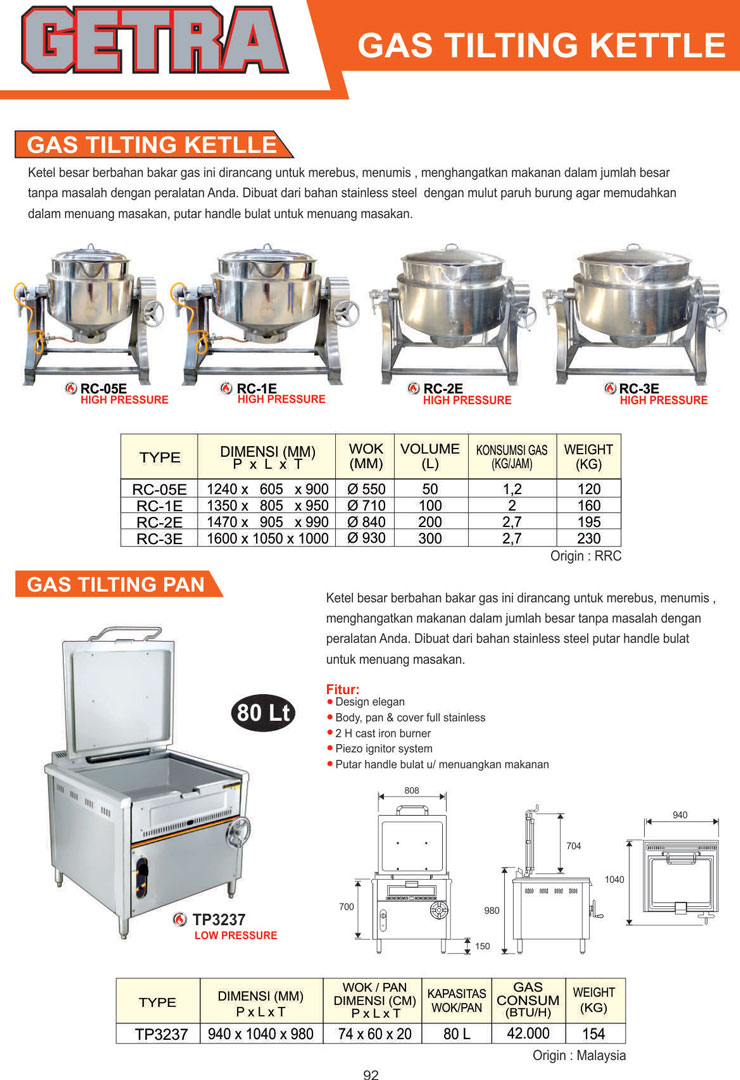 FOOD COOKING EQUIPMENT RC 1E